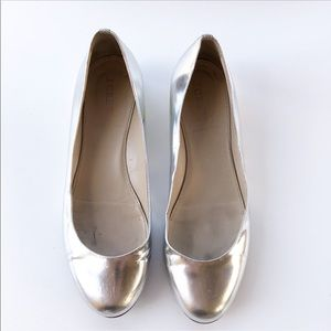 J. Crew Lily Metallic silver flats with gold heel